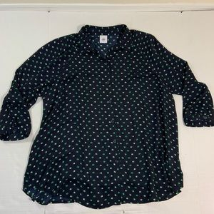 Cabi Long Sleeve Button Blouse Top 5019 L